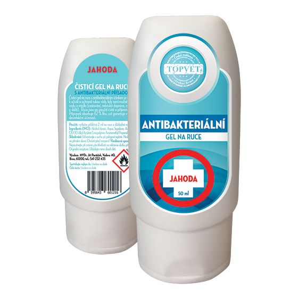 TOPVET Antibakteriální gel na ruce - Jahoda 50ml